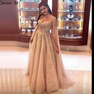 Image 4 - Serenhill robe de soirée dorée, Sexy, tenue de soirée luxueuse, forme trapèze, sans manches, dos nu, cristaux de dubaï, LA70290, 2020