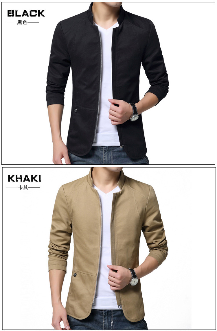 H02a9ecaeef204247a77ab35faeb7d00aP Autumn Cotton Jacket Men Slim Casual Baseball Jackets For Men Stand Collar With Zipper Coat Homme Fashion Men Clothing M-5XL