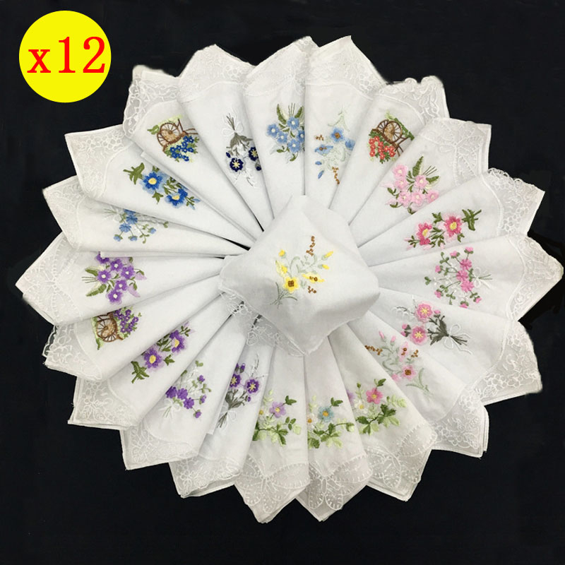 12pcs Vintage 28cm Cotton Women Handkerchief Embroidered Lace Flower Hankies Ladies Wedding Gift Party Dining Table Hanky