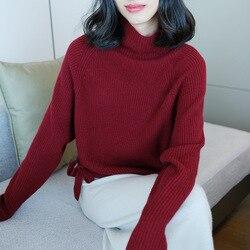 Jersey de Cachemira de cuello alto para mujer jersey de manga larga de talla grande tejido de vino femenino suelto 2020 Otoño Invierno envío gratis
