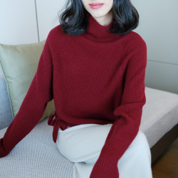 women's turtleneck cashmere sweaters pullover long sleeve plus size loose Female wine knitwear 2020 Autumn Winter free shipping