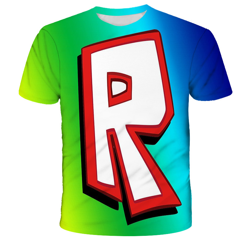 2021 Summer 3D Children's Robloxing Cosplay T-shirt Pullover Round Neck Fashion Casual Boys And Girls Casual Children's Clothing