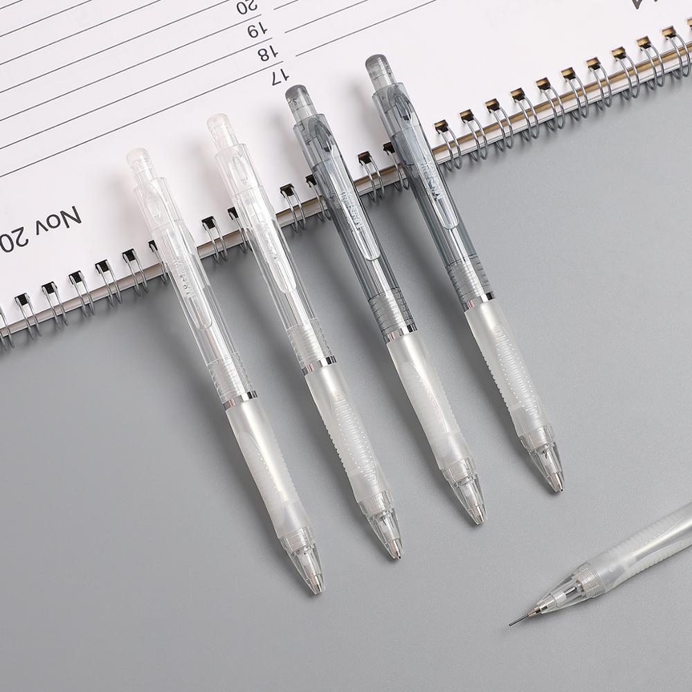 JIANWU 2pcs/set 0.5mm Simple Transparent Mechanical Pencil Vivid Color Drawing Mechanical Pencil High Quality Office Supplies