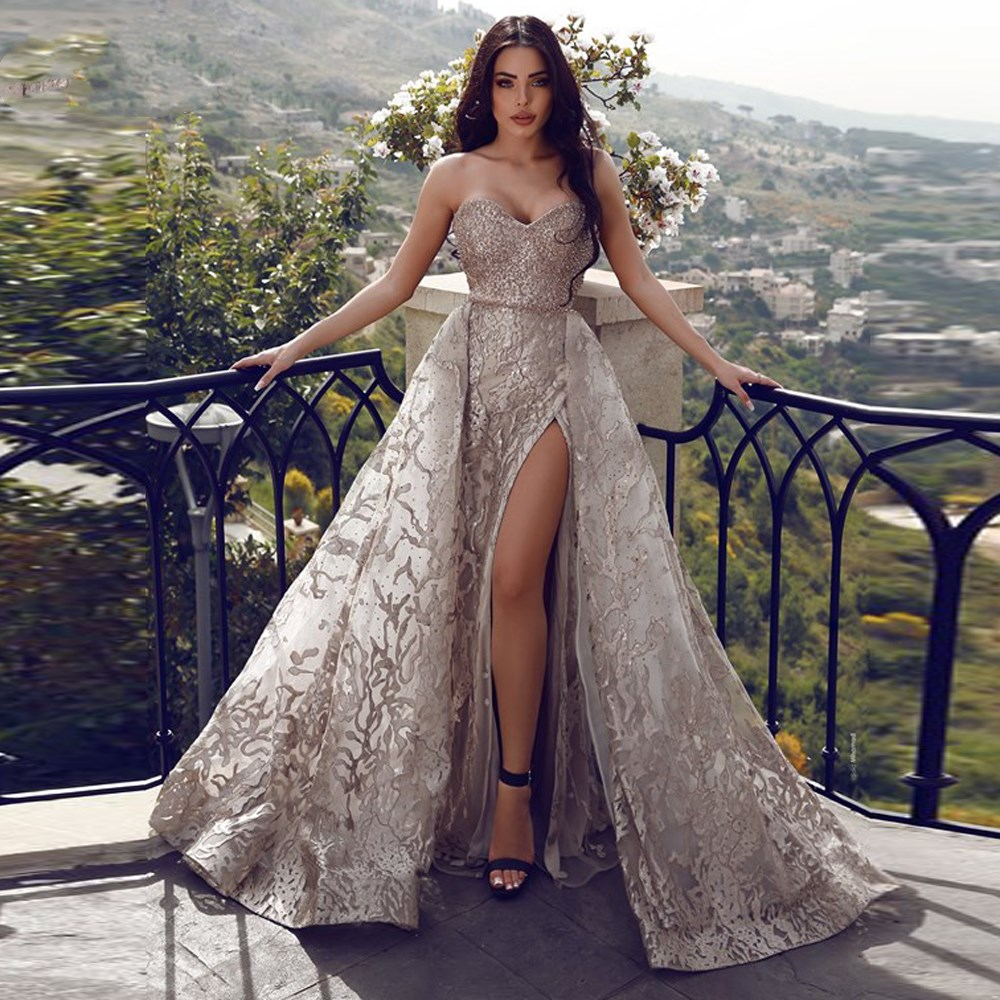 Sexy Lace Mermaid Prom Dresses With Detachable Train High Side Split Beaded Crystal Long Prom Gowns Formal Dress