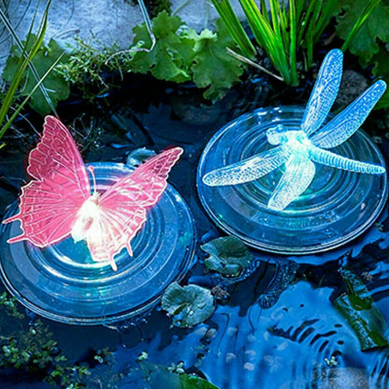 Solar LED Float Lamp RGB Color Change Butterfly Dragonfly Outdoor Pond Water Light WWO66