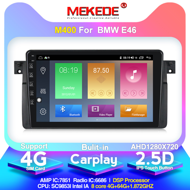 MEKEDE AutoRadio 1 Din Android 10.0 Car DVD Player For BMW E46 Multimedia M3 318/320/325/330/335 Rover75 Coupe GPS Navigation4GB