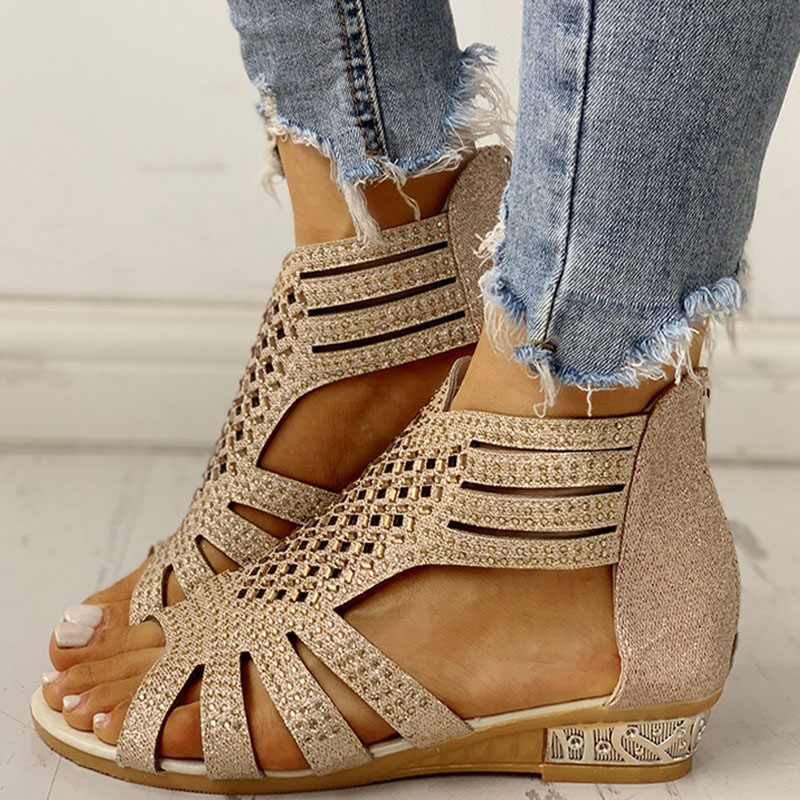 Spring Women Sandals Gladiator Low Heel Casual Open Toe Wedges Platform Height Increasing Chunky Ladies Shoes Zapatos De Mujer