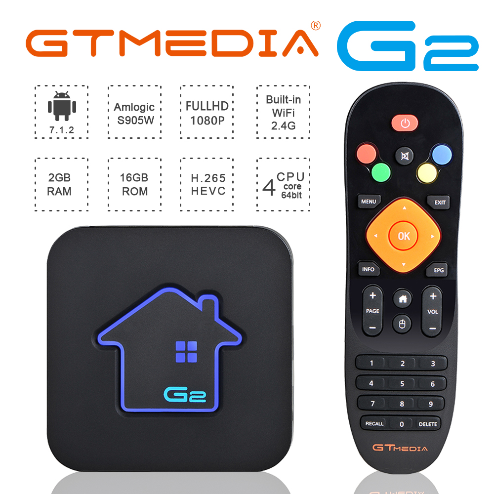 GTMEDIA G2 s905W Android tv box 7.1 2GB 16GB RAM ROM Wifi pour décodeur iptv france europe 4k iptv m3u smart tv box world box