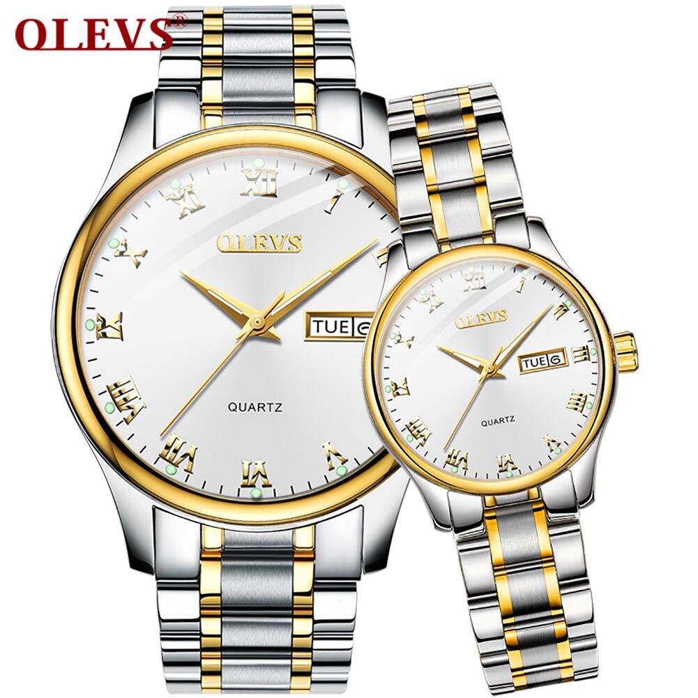 Olevs 럭셔리 커플 쿼츠 시계 여성용 남성용 손목 시계 화이트 블랙 페이스 30 m 방수 스테인레스 스트랩