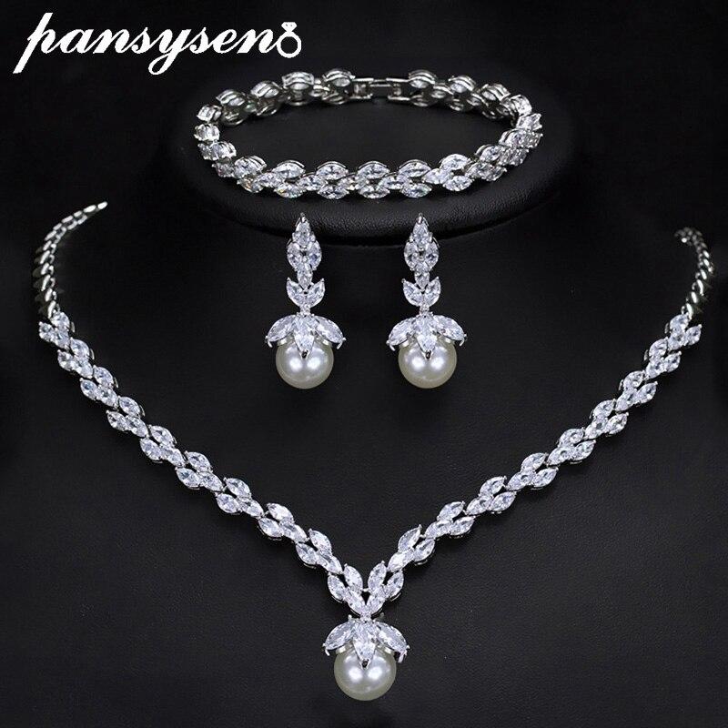 PANSYSEN Luxus 925 Sterling Silber Perle AAAA Zirkon Schmuck Sets für Frauen Hochzeit Engagement Halskette/Ohrringe/Armband Set