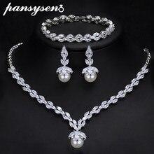 PANSYSEN luksusowe 925 perła z polerowanego srebra z cyrkoniami aaa zestawy biżuterii dla kobiet ślub zaręczyny naszyjnik/kolczyki/zestaw bransoletek