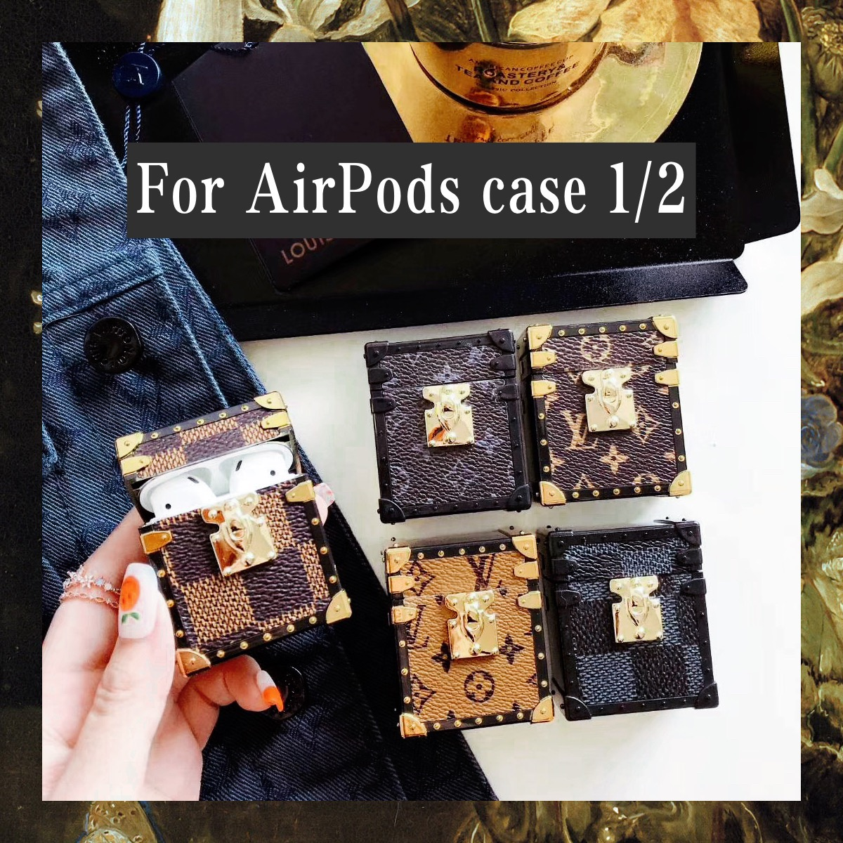 luxury For AirPods1/2 Case 3D  Earphone Cases Accessories Protect Cover leather Hard shell metal Limited time limited item
