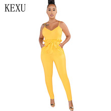 KEXU New Arrival Sexy Spaghetti Cross Strap Lace Up Jumpsuits Summer Casual Sleeveless Bow Belt Long Romper Female for Women