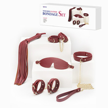 BDSM kit fetish bondage restraint kit leather suit femdom handcuffs irons whip collar leash sm slave adult games