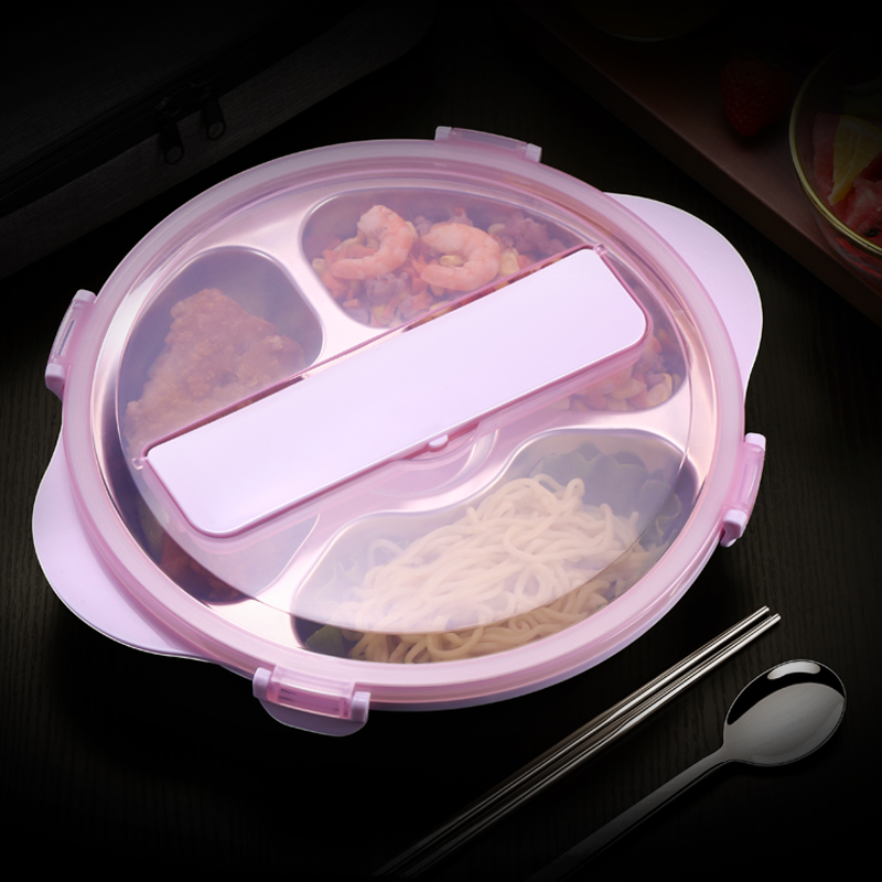 Lunch Box 304 Stainless Steel 3/4 Compartment Round High Capacity Food Container Student Office Worker Bento Box