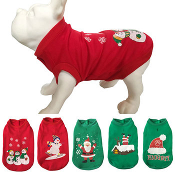 2020 Christmas Dog Clothes Pet Dog Coats Jacket Hoodies For cats O Neck Outfit Warm Pet Clothing Xmas Print Pet Costume for Dogs