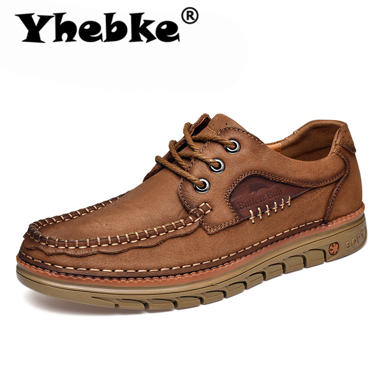 Yhebke Brand New Men'S Autumn Leather Shoes Cowhide Soft Ventilate Lace-Up Outdoors Fashion Casual Shoes Flats Tooling Shoe