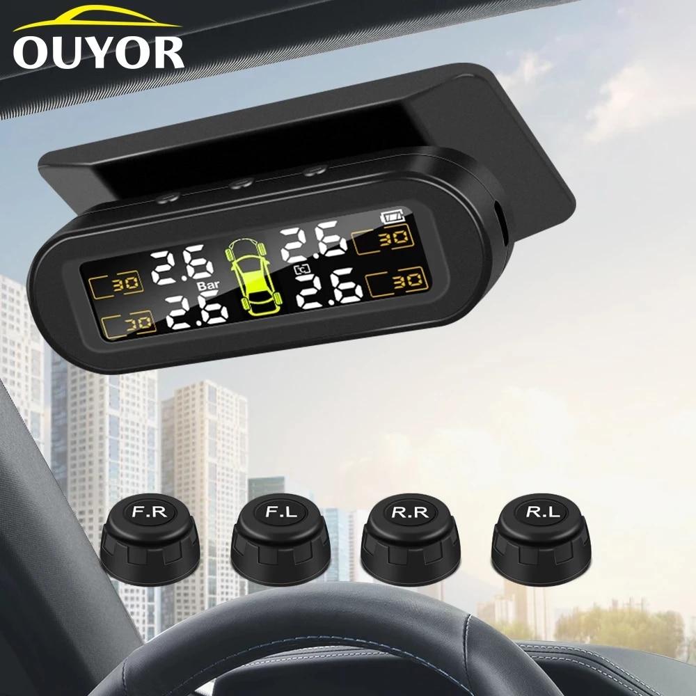 В Шинах Автомобиля Давление Сенсор USB зарядное устройство на солнечной батарее фунтов на квадратный дюйм бар система контроля давления в ши...