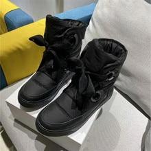 Зимние женские ботинки из натуральной кожи; Цвет Черный; Новая модная удобная теплая повседневная женская обувь на платформе со шнуровкой из водонепроницаемого материала