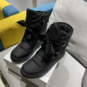 Image 1 - Winter Genuine Leather Black Down Womens Boots New Fashion Platform Comfortable Warm Lace up Waterproof Casual Womens Shoes