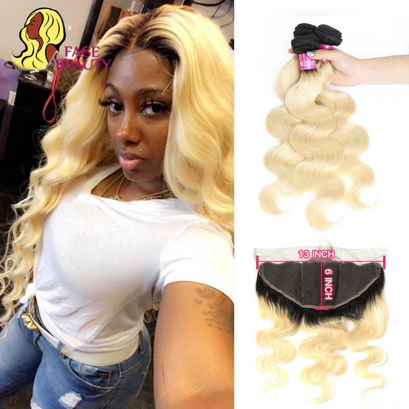 Facebeauty 1B/613 Ombre Blonde Kleur Peruaanse Body Wave 2/3/4 Human Remy Hair Extension Bundels Met 13X6 Kant Frontale Sluiting