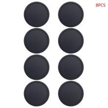 8 Pcs Round Black Thicken Glass Coasters Durable Silicone Pad for Drinks Cups Bar Glass Table Desktop Decorations Placemat Acces