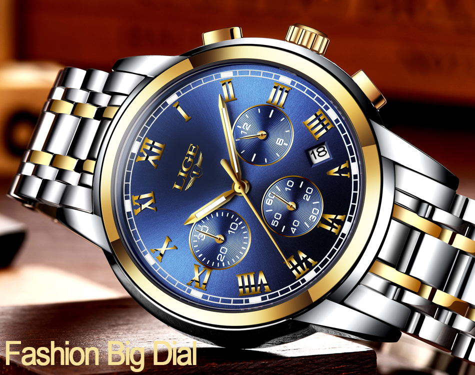 H02aad19ed1fc4f19bde23b99741f6f791 Relojes Hombre LIGE New Watches Men Luxury Brand Chronograph Male Sport Watches Waterproof Stainless Steel Quartz Men Watch