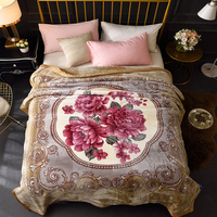 Heavy Thick Fleece Blanket for Winter Queen Size 200X230cm Bed spread set Soft and Warm Flowers Blanket for Bed Couch Sofa