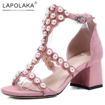 Lapolaka Hot New Design Top Quality Chunky High Heels Summer Sandals Woman Shoes Buckle Strap String Bead Shoes Women Sandals