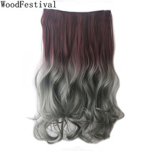 WoodFestival Women Heat Resistant Hairpiece Natural Long Curly Hair Pieces Clip In One Piece Synthetic Hair Extension elegant long synthetic stylish long shaggy curly clip in hair extension for women