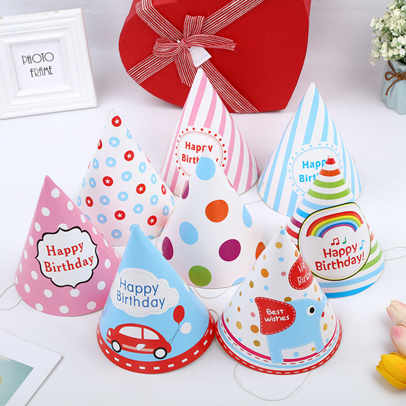 New 2Pcs Cartoon Party Kids Hat Rainbow Birthday Hat Chlid Cartoon Animal Pattern Decoration Birthday Kids Gift Hat