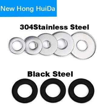 Stainless Steel Flat Washer Metal Gasket Black SteelRing Plain Washer M1.6M2 M2.5 M3 M4 M5 M6 M8 M10 M12 M14 M16 M18 M20 M22 M24