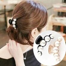 Luxury Pearls Hairpins Hair Ornaments Trendy Clip Shiny Rhinestone Crab Claws For Women Girl Accessories Headwear