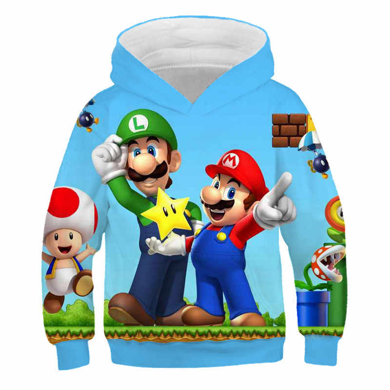 3 à 14 ans sweat à capuche enfants jeu Super Mario Bros 3D imprimé sweat à capuche garçons filles veste d'extérieur manteau enfants vêtements