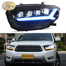 цена на Car Styling LED Headlight For Toyota Highlander 2009 - 2011 LED DRL Dynamic Turn Signal Strip Projector Lens Head Lamp Assembly