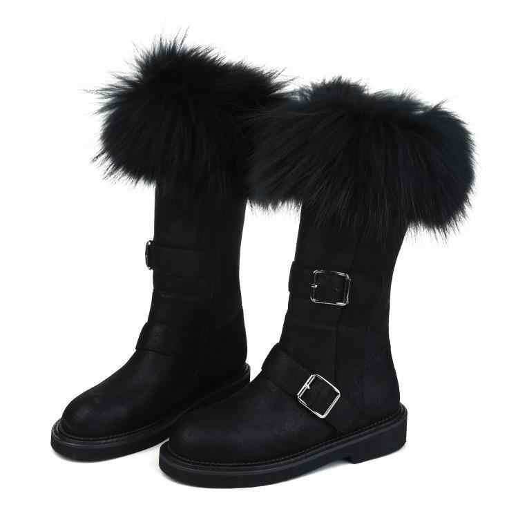 Şık kış kar botları kadın tilki saç Botas Mujer orta buzağı deri ayakkabı kadın moda Chaussures Femme sıcak Botines Mujer 2020