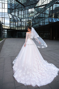 Image 2 - Ball Gown Wedding Dresses Long Sleeves Lace Appliques 2020 Off the Shoulder Robe De Mariage Court Train Wedding Bridal Gown
