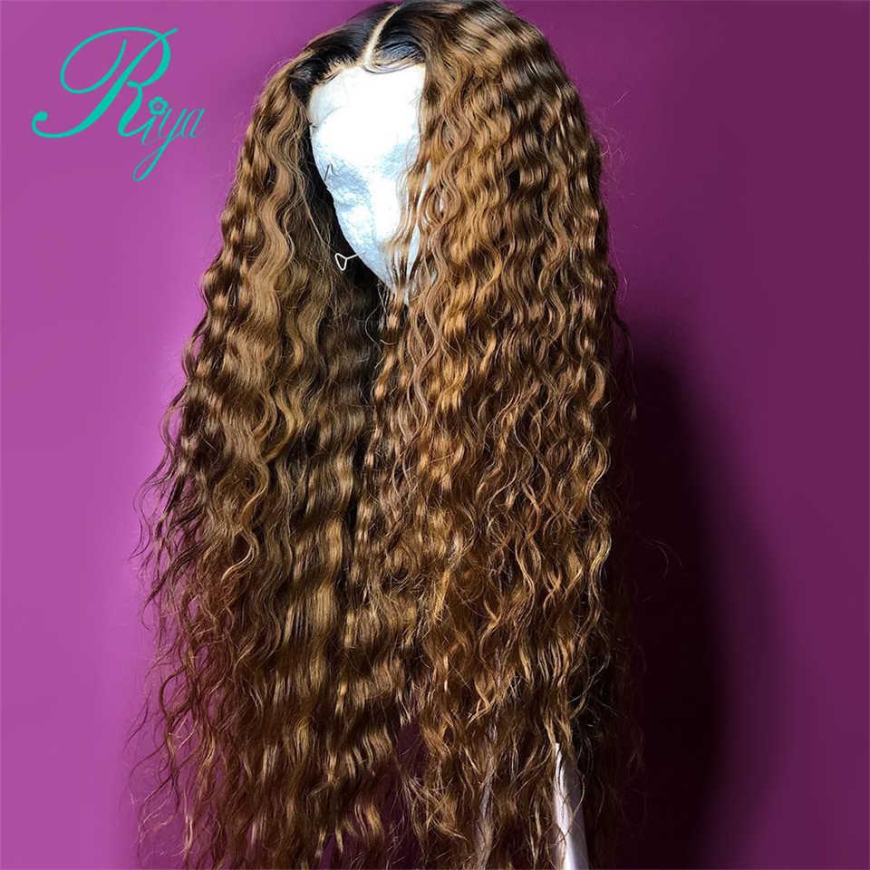 13x6 150% Ombre miód blond czerwony bordowym kolorze koronki przodu kręcone ludzkie włosy peruki dla czarnych kobiet pre-oskubane brazylijski Remy włosy