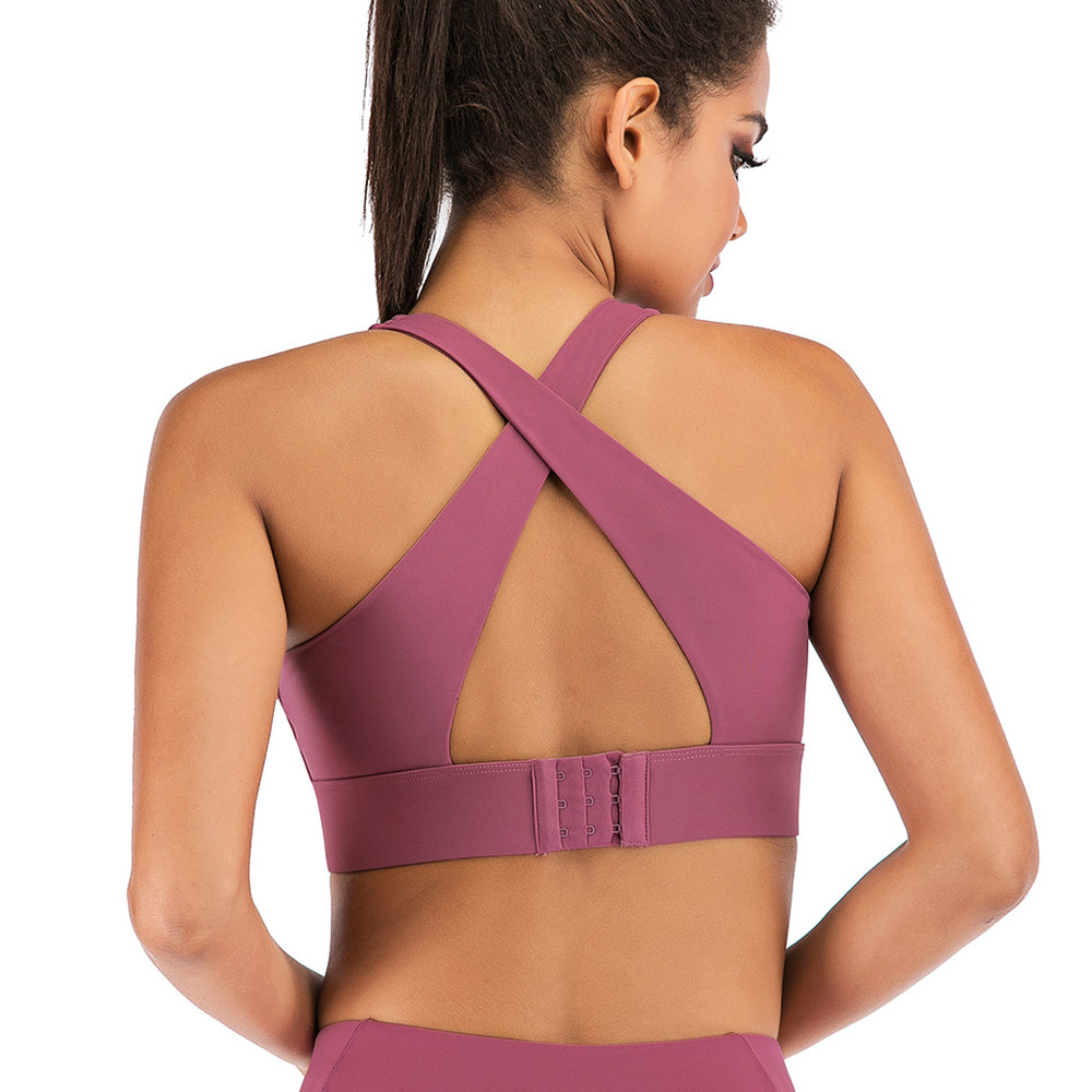 Contain pad Sports Bras Push up Cross-Back Straps Hook-And-Eye Closure Running Fitness Bra Top Clothing Women Training Yoga bras