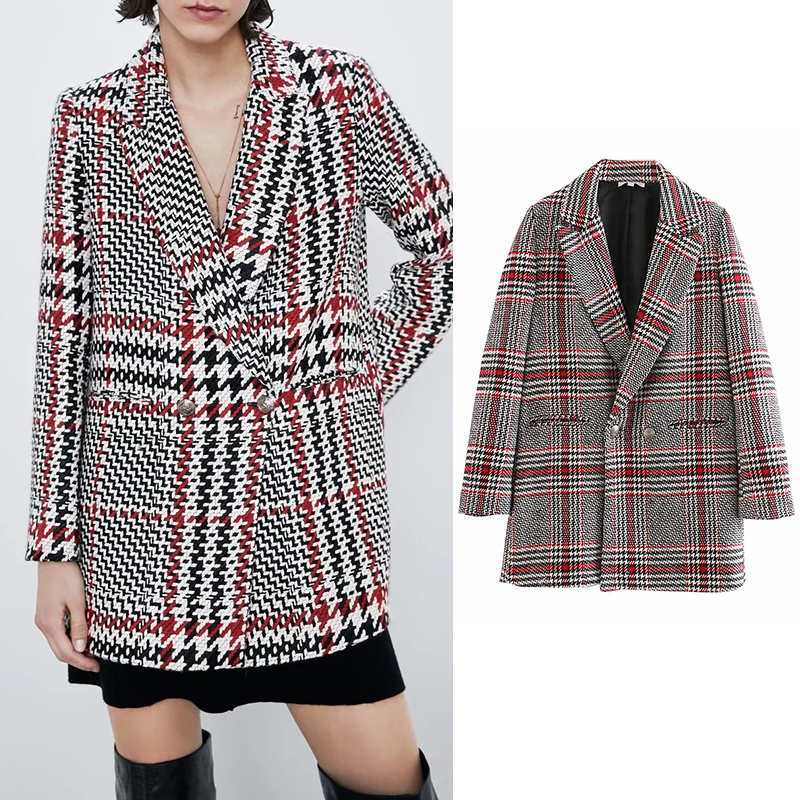 2019 Za Women's Jacket Plaid Printed Singl Buckle Elegant Pockets Long Sleeve Ladies Blazer Fashion Casual Jackets