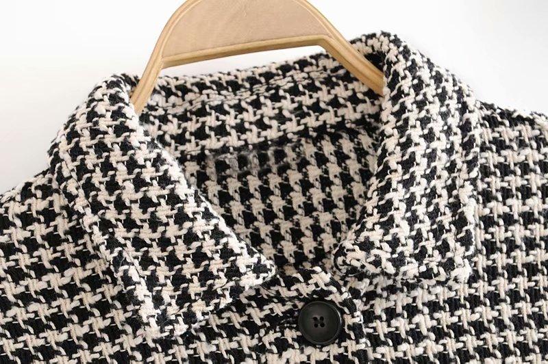 2019 Twill Tweed Jacket Women Vintage Single Breasted Tassel Coat European Houndstooth Jacket Plus Size Oversize