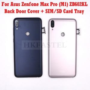 Новый оригинальный корпус ZB602KL для Asus Zenfone Max Pro (M1) ZB602KL, задняя крышка аккумулятора, крышка двери, лоток для SIM-карты, кнопка регулировки громк...
