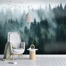 Non-Woven Wallpaper Mural Forest Background-Wall Bedroom Living-Room Smoke-Landscape