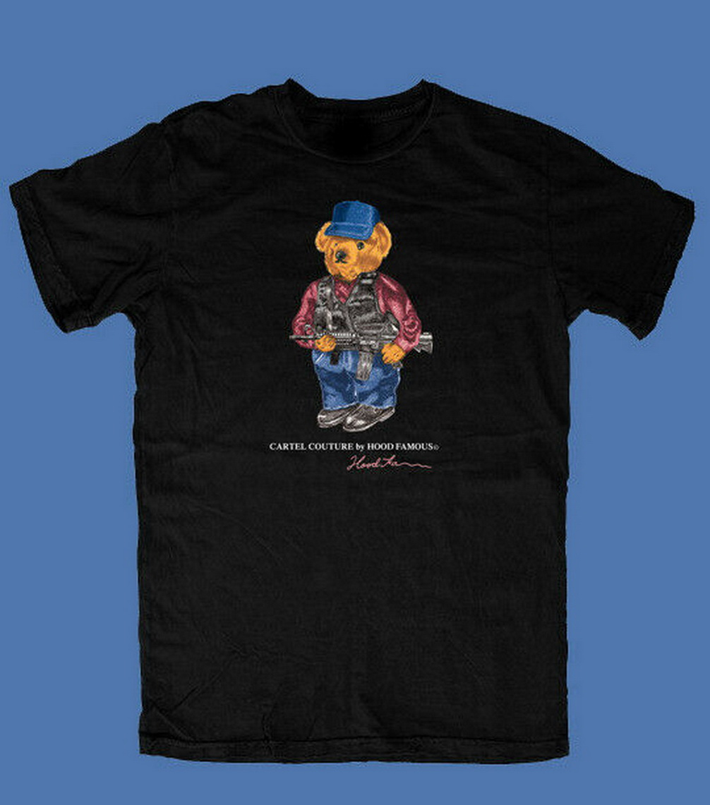 VINTAGE RARE Hood Famous El Chapo Narco Bear Tops Tee T Shirt SIZE S-2XL REPRINT T-Shirt Trendy Streetwear