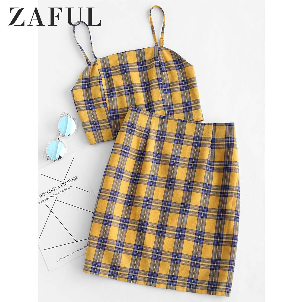 ZAFUL Yellow Plaid Sexy Two Piece Set Smocked Back Crop Top And Mini Skirt Summer Outfits Bodycon Dress Suit Women Sets 2019