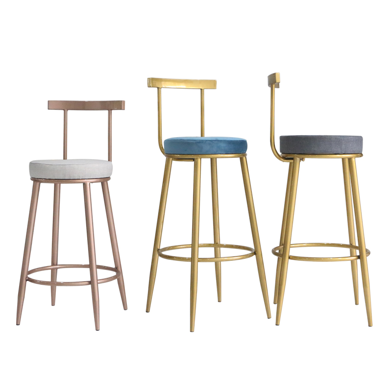 Bar Chair Iron Gold Chair Modern Front Desk Minimalist Coffee Chair Back Home Nordic High Chair Personality