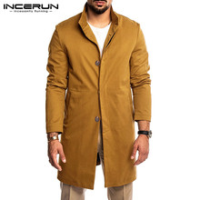 Jackets Windbreaker Coats Long-Sleeve Streetwear INCERUN Men Trench Autumn Winter Fashion