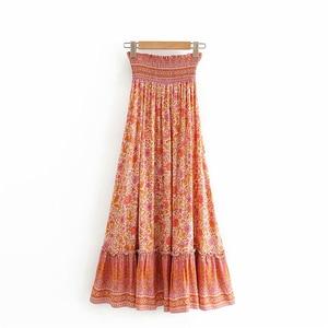 Image 2 - Винтажная шикарная Женская Хиппи с цветочным принтом, Пляжная богемная плиссированная юбка с высокой эластичной талией и оборками, макси трапециевидная Бохо Юбка Femme