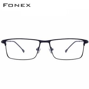 Image 3 - FONEX Alloy Glasses Frame Men Ultralight Square Myopia Prescription Eyeglasses Frames Metal Full Optical Screwless Eyewear