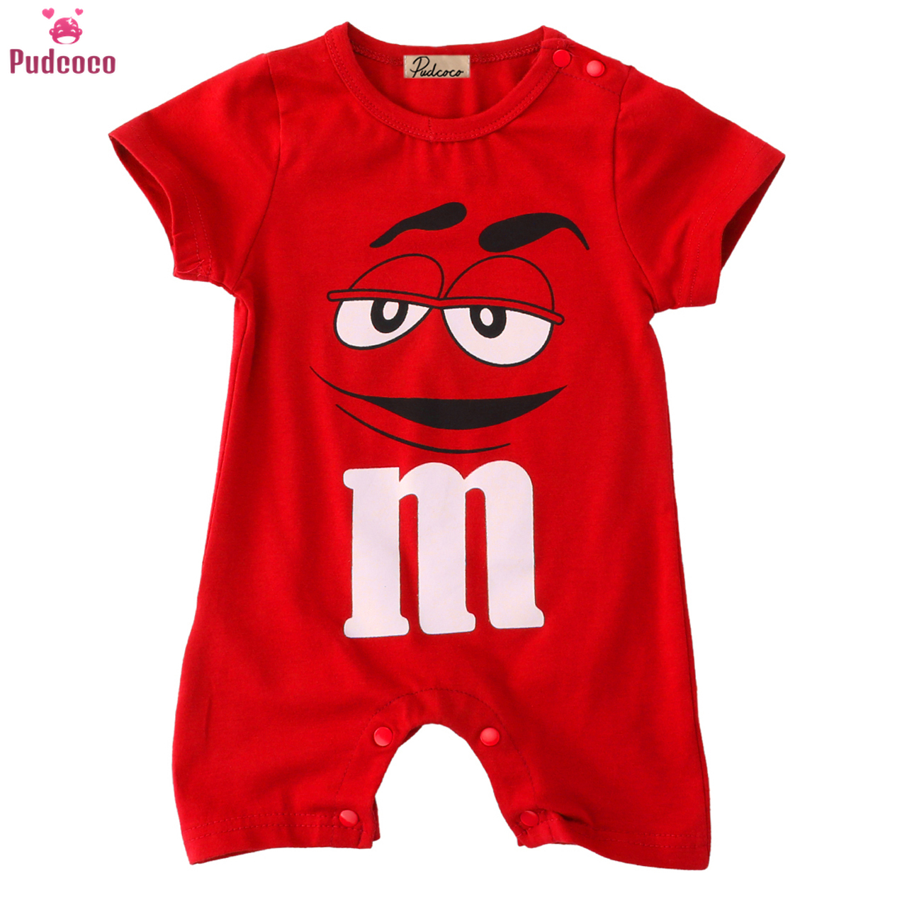 Candy Character Face Juniors Newborn Clothes Baby Girls Boys Red   Romper   Summer Cartoon Short Sleeve One-piece Jumpsuit